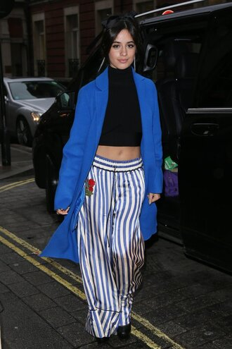 pants camila cabello stripes striped pants crop tops coat turtleneck top