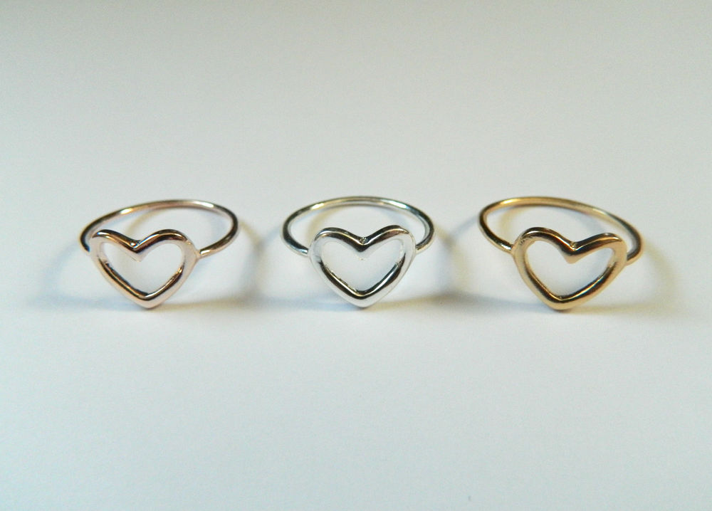 Cute Silver, Gold or Rose Gold Open Heart Stacking Ring | eBay