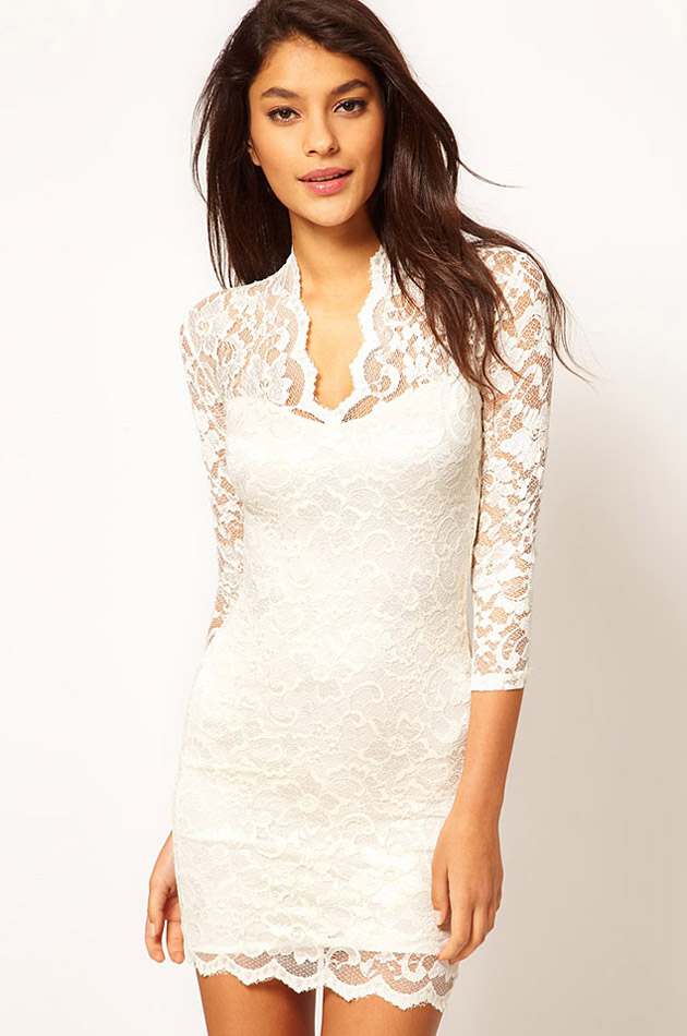 New Women's Black White Lace Sexy V Neck Slim 3/4 Sleeve Cocktail Party Dresses | eBay