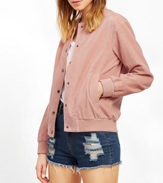 jacket girl girly girly wishlist pink corduroy button up