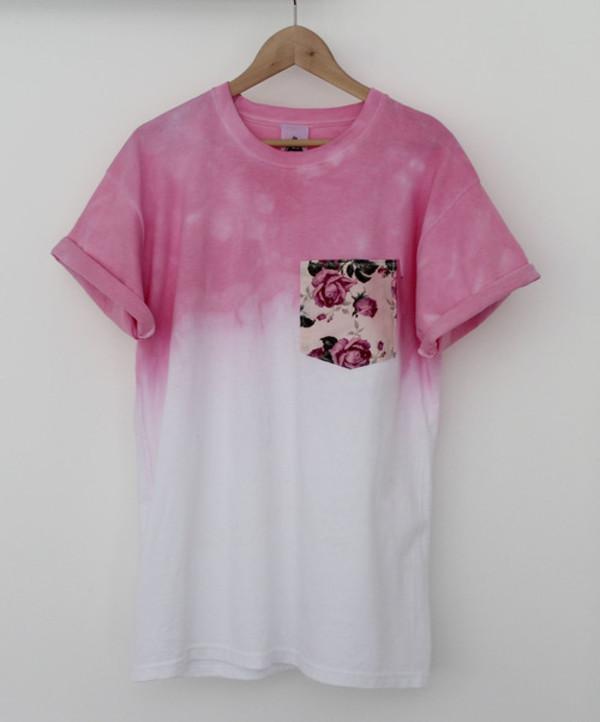 skirt shirt t-shirt ombre t-shirt floral pink love white tie dye shirt flowers style patchwork t-shirt blouse pocket t-shirt