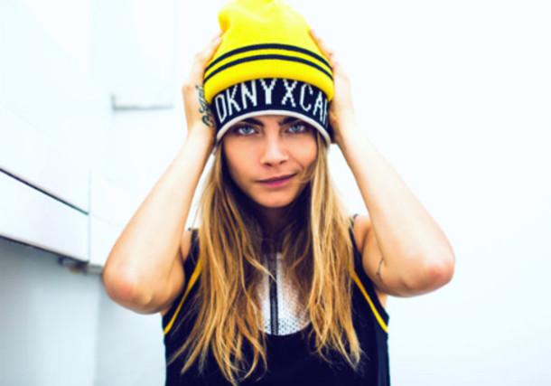 cara delevingne dkny model beanie hat