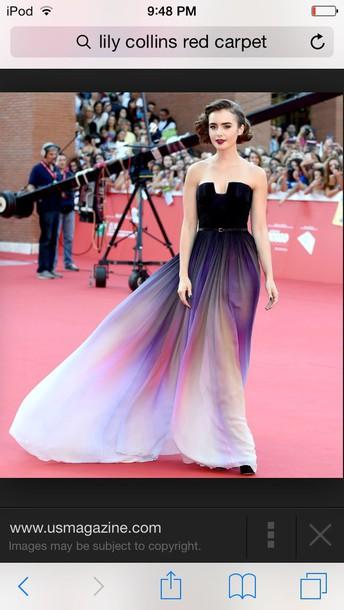 dress lilly collins blue dress prom dress purple dress pink dress
