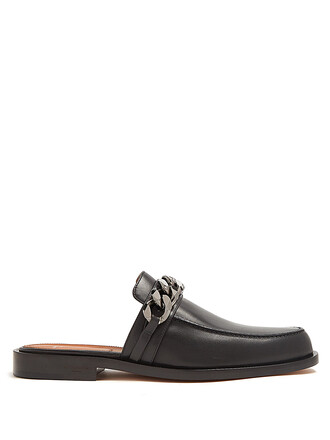 backless loafers leather black shoes