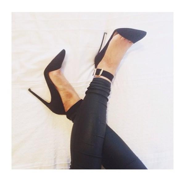 shoes heels high heels black high heels gold buckles