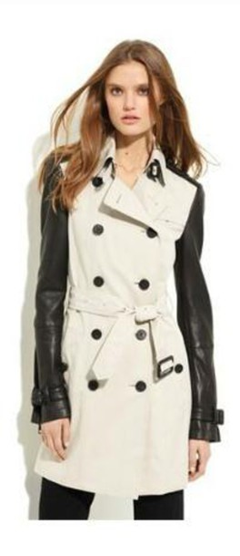 coat trench coat off-white button