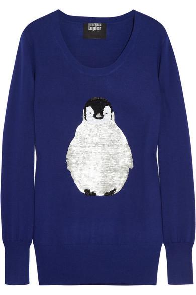 Markus Lupfer Penguin sequined merino wool sweater NET-A-PORTER.COM