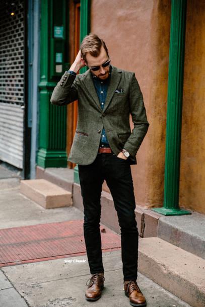 stay classic blogger menswear classy mens blazer jacket shirt jeans shoes