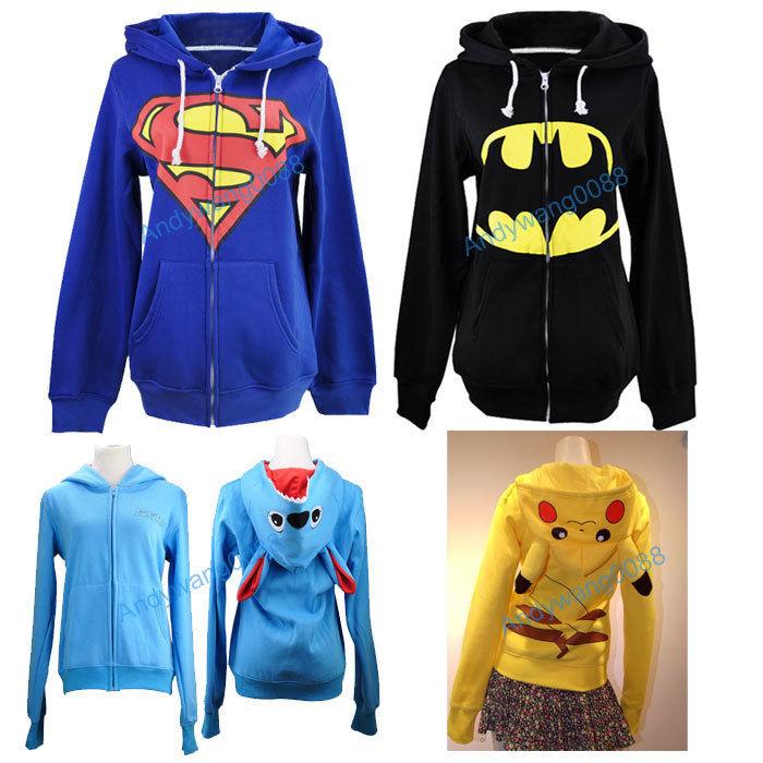 Pokemon Pikachu Stitch Superman Batman Hoodie Hoody Cosplay Sweatshirt Costume   eBay