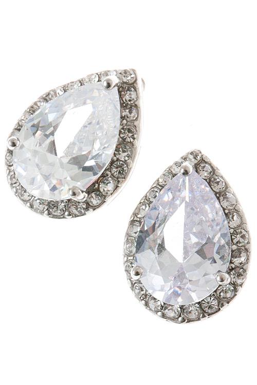 cz pear stud earrings