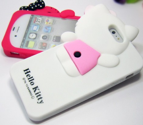 White Cute 3D Hello Kitty Back Cover Case For Iphone 5