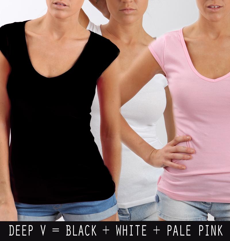 Womens Quality Basics Sale $30 RRP NOW $5 Deep V Neck TEE Plain Style Casual | eBay