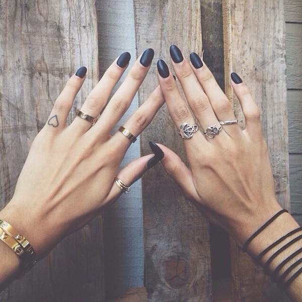 gold ring matte nail polish silver ring ring dark nail polish