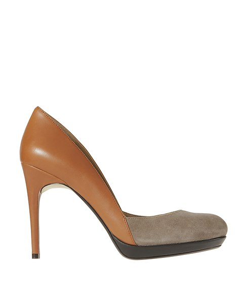 Kimberly Colorblocked Leather and Suede Platform Pumps   Ann Taylor