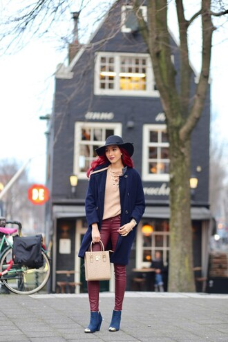 preppy fashionist blogger hat sweater coat jeans shoes bag felt hat blue coat ankle boots winter outfits nude bag nude sweater