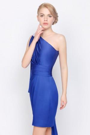 Stunning Royal Blue Satin Short/Mini Sheath/Column Dress On Sale - Fadhits - English - p-Dwomendress0009