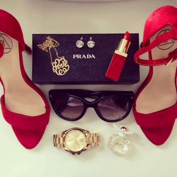 fashionhippieloves shoes sunglasses jewels jeans bag shirt jacket scarf hat belt blouse skirt red sandals red high heel sandals Red suede sandals