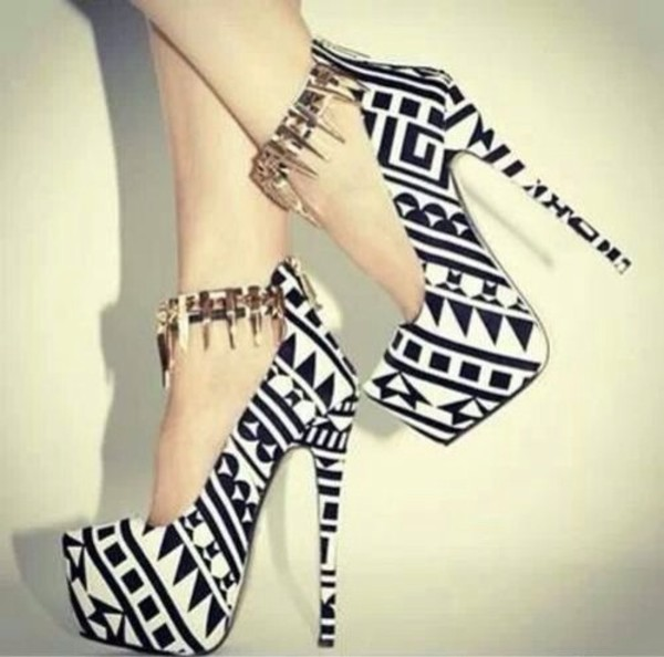 shoes black and white tribal pattern ankle strap high heels cute high heels aztec spikes jewels platform shoes platform high heels platform heels pumps heels black white hipster sexy pattern