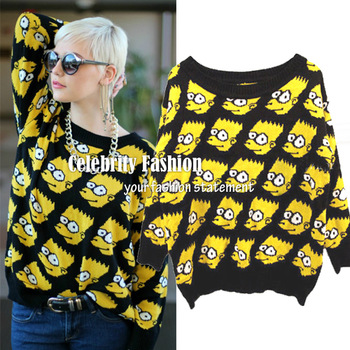 SW14* 2013 Celebrity Style Bart Simpson Print Knitted Women Winter Sweater Spring Jumper Top Autumn Pullover FreeShip-inPullovers from Apparel & Accessories on Aliexpress.com