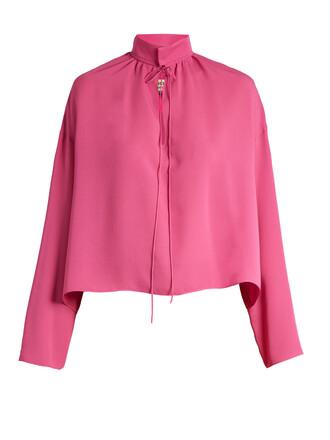 blouse long silk pink top