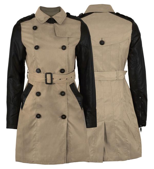 jacket gabardine belted military style coat pvc sleeve ladies parka camel double buttoned women leather sleeves fake leather little black dress
