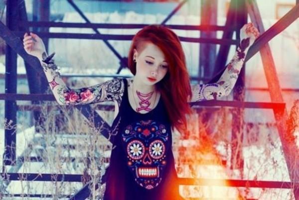 t-shirt vest black skull tank top colorful shirt sugar skull cute tattoo girl