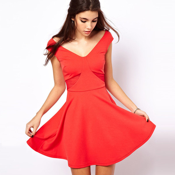 dress skater dress red dress red red skater dress v neck dress v neck v neck dress v neck