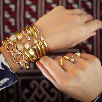 jewels bracelets gold spikes rivet cuff cute crystal trndy gold jewelry