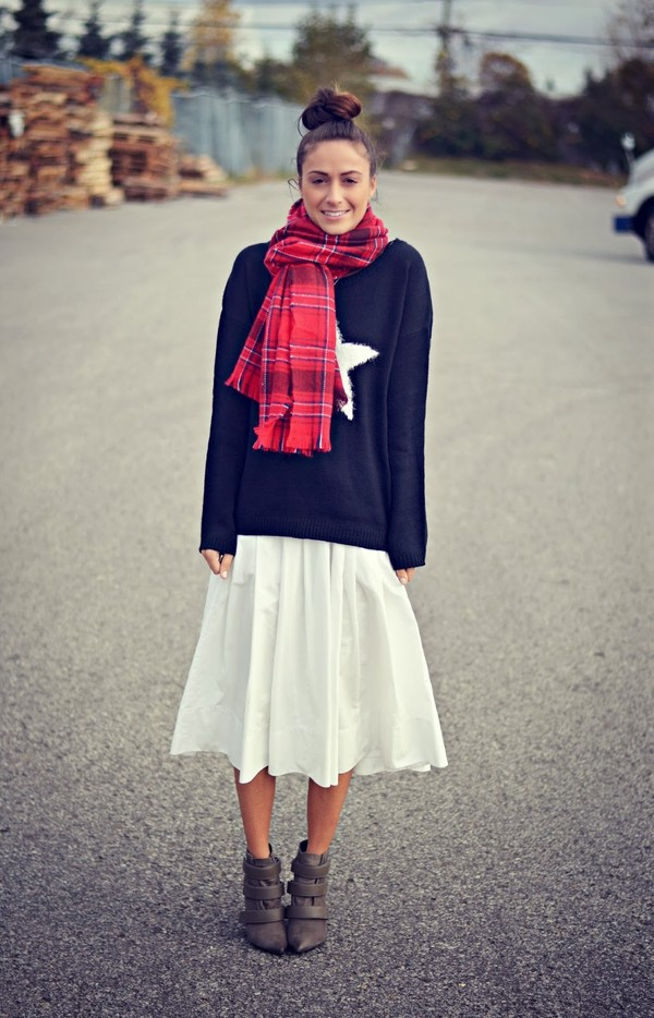 quality rivets sweater skirt shoes scarf