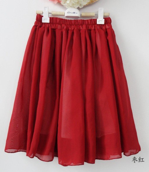 Free shipping green/blue/red/pink/yellow/navy big size fashion skirts plain chiffon high waist skirts womens for women 2013-in Skirts from Apparel & Accessories on Aliexpress.com