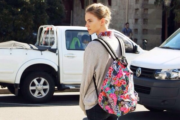 bag floral floral backpack bright multicolor retro hipster boho chic backpack flowers fashion
