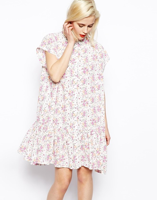 dress asos dress in summer floral print with dropped waist asos