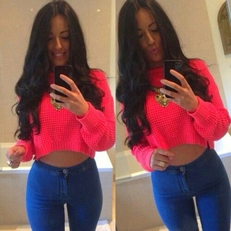 sweater pink coral vibrant whool knitwear crop winter outfits love urgent jeans