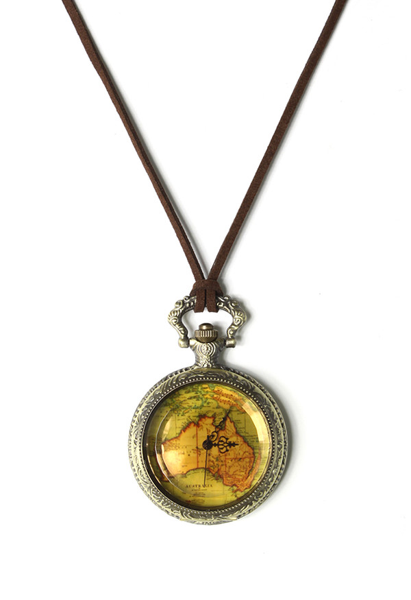 jewels map print watch pendant necklace