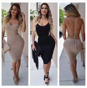 dress tie up bodycon dress black tan taupe beige midi dress black dress backless nude dress backless dress