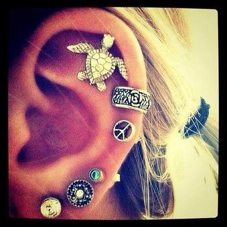 jewels earings turtle cute peace sign ear cuff