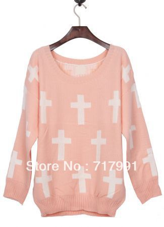 2014 New Fashion Casual Spring/Winter Women Clothing Work White Cross Pattern Pullover Sweater Cute Long Sleeve Knitted Knitwear-in Pullovers from Apparel & Accessories on Aliexpress.com