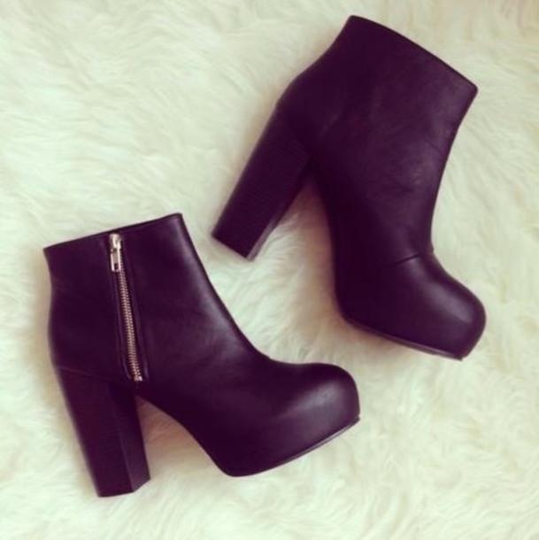 shoes boots black fashion high heels zip