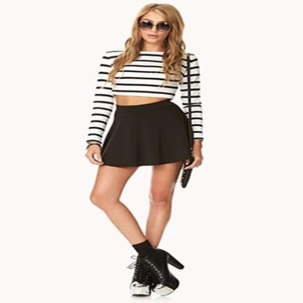 shirt top blogger vintage black white hipster dope stripes forever 21