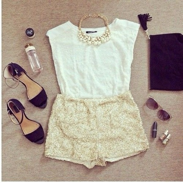 shorts blouse shoes black cute oufits cute outfits summer outfits necklace shirt High waisted shorts sandals sneakers style gold shorts top white top statement necklace high heel sandals black sandals pouch black pouch bag sunglasses