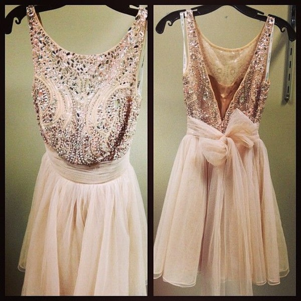 dress pink sparkle prom bow
