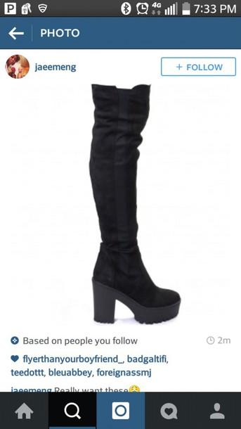 shoes black boots platform boots