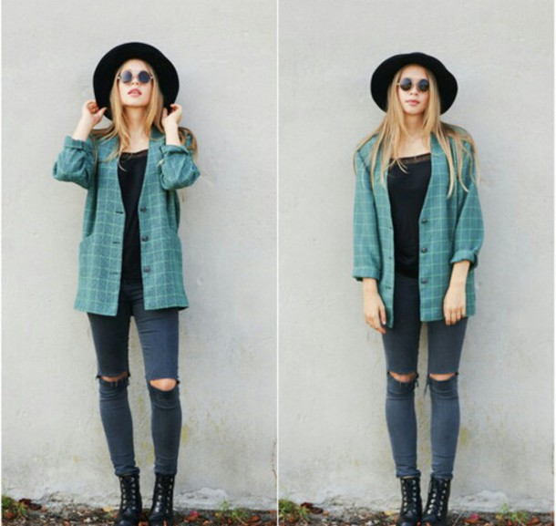 Geliebte jacket, indie, indie, turquoise, fedora, hat, sunglasses, knee  MP25