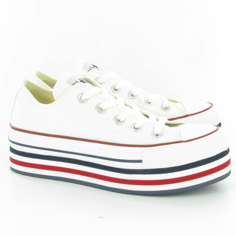 Converse Allstar Platform Ox Wedge Shoes in White