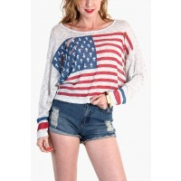 LoveMelrose.com From Harry & Molly   Distressed American Flag sweater-Light grey from Love Melrose - LONG SLEEVE - TOPS