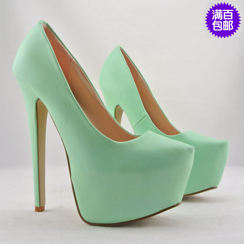 Free shipping Women's mint green pointed toe platform fashion ultra high heels single shoes 16cm 35   43-inPumps from Shoes on Aliexpress.com