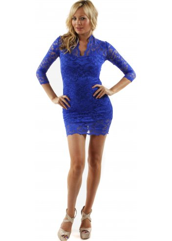 John Zack Kate Dress | John Zack Blue Lace Body Con Mini Dress