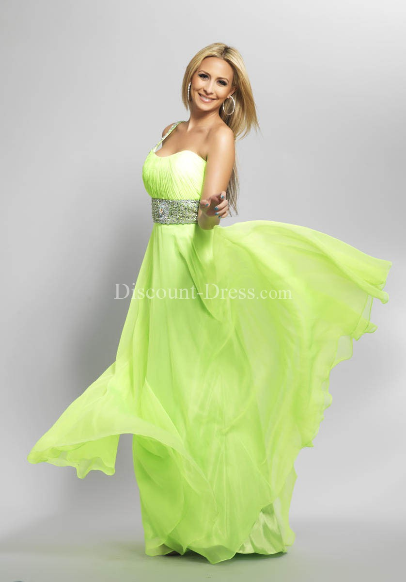Informal One Shoulder Chiffon With Beading A line Lime Green Prom Dress -  - US$123.99