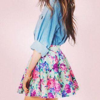 denim jacket denim top floral skirt mini skirt mint dress skirt floral flowers skater skirt cute