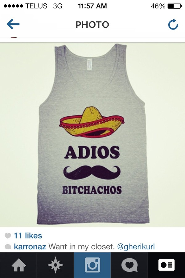 shirt grey t-shirt mexico adios funny tank top muscle tee moustache cotton